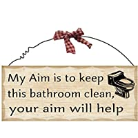 """10""""x4"""" Wooden Sign Decor - Bathroom Aim by Private Label"""