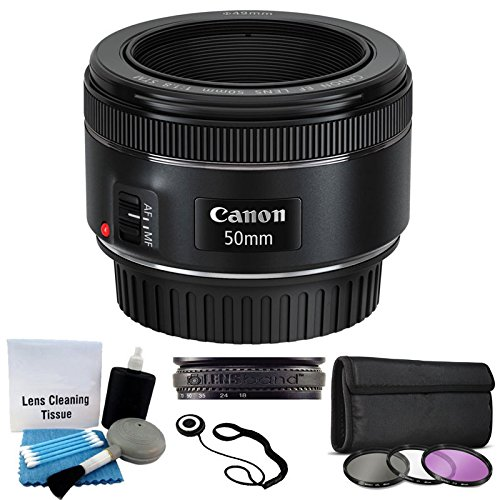 Canon-EF-50mm-f18-STM-Lens-For-Canon-Cameras-With-3-Piece-Filter-Kit-UV-CPL-FLD-Lens-Cleaning-Kit
