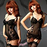 Sexy Lingerie Black Camisole with Stockings + Garter Belt + G-string A010033 thumbnail