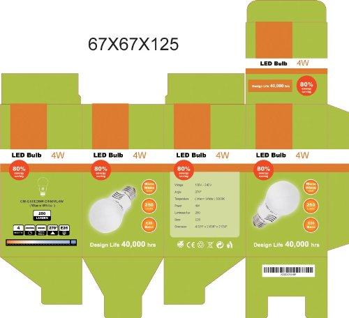25Pc Cmvision 4 Watt E26 Led Light Bulb 270 Degree Wide Angle White 3000-5000K (Warm White 3000K)