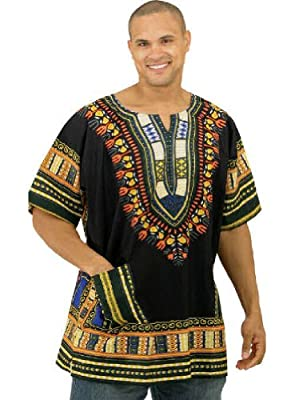 "King-Sized Traditional Print Unisex Dashiki Top - Up to 68"" Chest - In Several Colors"