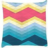 Snoogg Awesome Colour Chevron Cushion Cover Throw Pillows 16 X 16 Inch