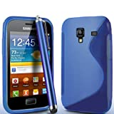 ONX3 Samsung Galaxy Ace Plus S7500 S Line Blue Wave Gel Case Skin Cover + Blue High Capacitive Stylus Pen