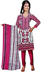 Majaajan Women's Cotton Self Print Unstitched Salwar Suit Dress Material (BNSL0667PNK, Pink, Freesize)
