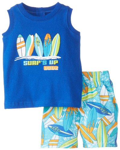 Kids Headquarters Baby-Boys Newborn Tank With Surf Board Printed Shorts, Blue, 3-6 Months front-1073355