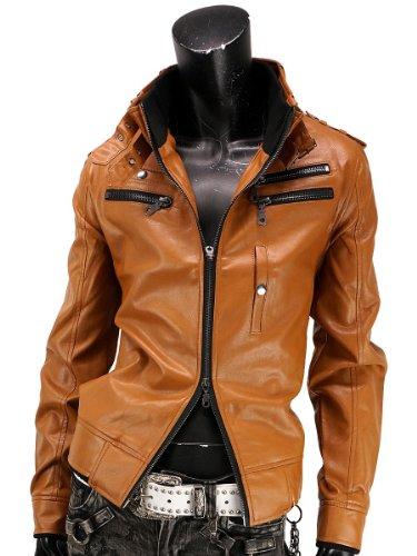 ライダースジャケット ミリタリージャケット フェイクレザージャケット ライダース ジャケット メンズ 916500A キャメル M