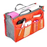 Mily Nylon Handbag Orangiser, Tidy Travel Hand Pouch Insert Comestic Gadget Purse Organizer Bag, Expandable with Handles Orange
