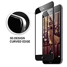G.D.SMITH Ice Max Series 3D Full Cover Tempered Glass Screen Protector edge to edge film for iPhone 6/6s Plus with 9H Hardness/Anti-scratch (Black)