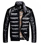 KM Men's Thicken Pu Leather Casual Down Jacket by NYC Leather Factory Outlet