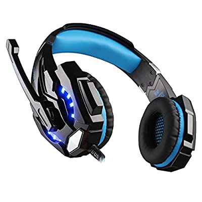 Beyda NEW USB 7.1 Surround Sound Version Professional Game Headsets,Gaming Headphone, Computer Headset Earphone Headband with Microphone, LED Light for Computer.Laptop.Tablet. All Mobile Phones (Blue)