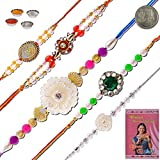 Little India Jaipuri Handcratfed 5 Pc Designer Pearl Rakhi Gift 603