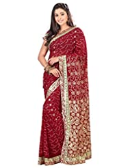 Designer Affluent Maroon Colored Embroidered Faux Georgette Saree By Triveni