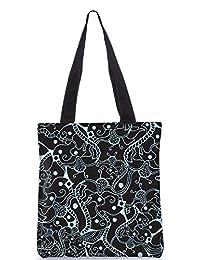 Snoogg Abstract Black Pattern Design Digitally Printed Utility Tote Bag Handbag Made Of Poly Canvas