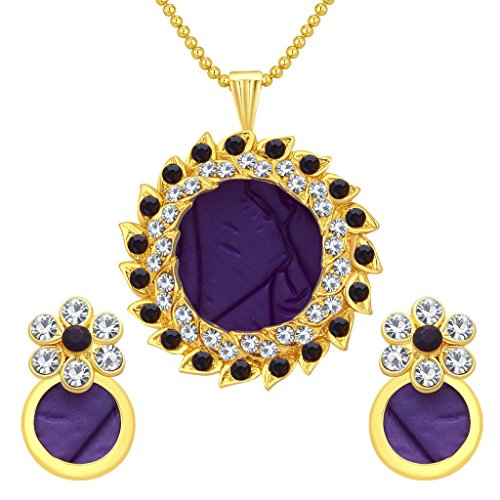 Sukkhi Glittery Gold Plated AD Pendant Set For Women