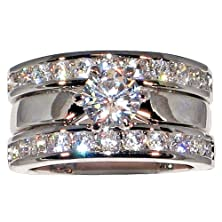 buy 2.54 Ct. Solitaire Cubic Zirconia Cz Bridal Engagement Wedding Ring Guard Set (Center Stone- 1 Ct.) (10)