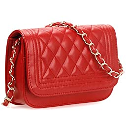 BMC Womens Cherry Red PU Faux Leather Diamond Quilted Pattern Mini Handbag Shoulder Strap Clutch