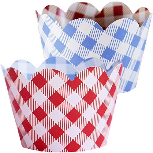 Country Christmas Cupcake Wrappers, Vintage Baby Blue Gingham, Rustic Red Checker, Confetti Couture Party Supplies, 36 Wraps
