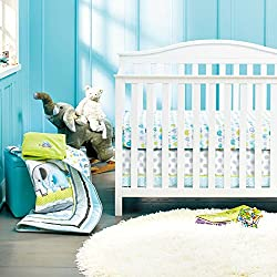 New Baby Safari Elephant 8pcs Crib Bedding Set: 4)bumper,1)quilt,1)sheet,1)fleece blanket,1)dust ruffle