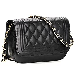 BMC Womens Midnight Black PU Faux Leather Diamond Quilted Pattern Mini Handbag Shoulder Strap Clutch