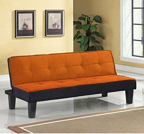 Color Block Futon Adjustable Sofa, Orange