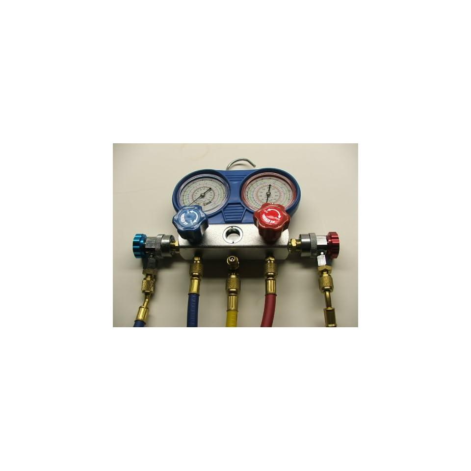 R134a A/C Manifold Gauges Hoses with Vacuum Pump R134