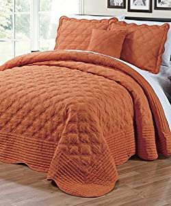 BNF Home 4 Piece Quilted Cotton Bedspread Set, King, Burnt Orange