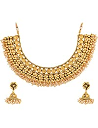 JFL - Gorgeous Pearls Designer One Gram Gold Plated Necklace / Jewellery Set With Earring For Women