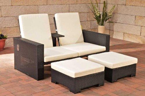 CLP 2er-Sofa RAVENNA aus Polyrattan mit Fußhockern, inkl. Kissen & Polstern (aus bis zu 2 Rattanfarben wählen) schwarz online kaufen