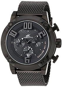 Adee Kaye Men's Quartz Stainless Steel Dress Watch, Color:Black (Model: AK07280-MIP/BK/IPB-MESH)