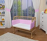 WALDIN Cuna colecho para bebé, cuna para bebé, con protector y colchón, natural sin tratamiento, rosa