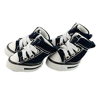 Pet Dog Shoes Denim Sport Casual Anti-slip Rubber Boots Dark Blue Sneaker Comfortable Shoes 4Pcs Pack