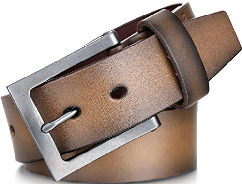 Marino Men's Genuine Leather Belt, Classic Jean Style, 1.5