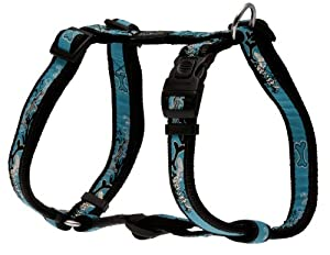 Rogz Fancy Dress Large 3/4-Inch Beachbum Adjustable Dog H-Harness, Turquoise Chrome Design