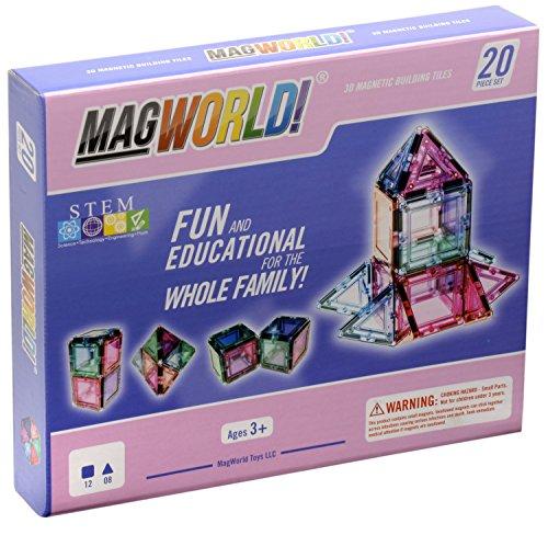 MagWorld Toys Magnetic Construction Pastel Colors-20 Piece Set JungleDealsBlog.com