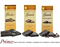 PRIMO - Case of 15 Luxury Dark Chocolate & Caramela bars: Vegan, Free of Gluten, Peanuts, Tree Nuts, Milk & Soy, All Natural, Allergen & Diabetic Friendly.