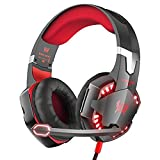 Dasenzen KOTION EACH G2000 PC Game Headset, Over-Ear Headphones with Microphone, Noice Canceling, LED Light, Surround Sound, Volume Control (Red) (Color: Red)