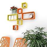 DecorNation Wall Shelf Set of Six Cube Rectangle Designer Wall Rack Shelves - Orange & Yellow