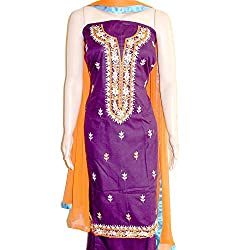 Reet Glamour Women 's Cotton Unstitched Purple With Orange Contrasted Punjabi Suit
