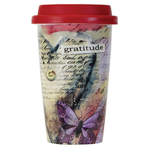 C.R. Gibson Double Wall Porcelain To-Go Coffee Cup, Gratitude