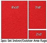 Indoor-outdoor Nature Red, 3 Piece Set, Patio Rug's (8x10 Area Rug, 3x8 Runner, 2x3 Mat)
