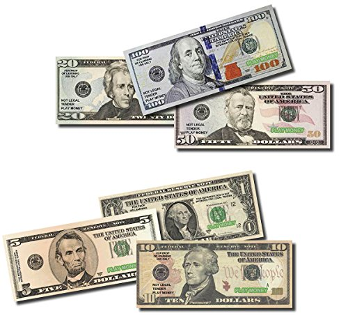 Toy Money 100 : Six packs of best real looking play money smaller size