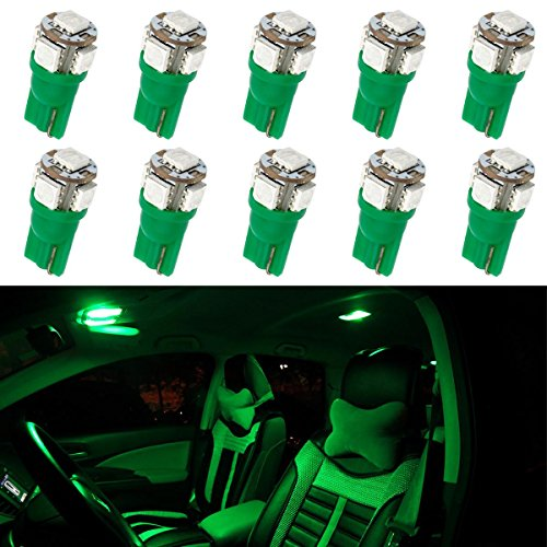 Partsam T10 W5W Wedge 194 168 158 5-5050-SMD Interior Dome Map Reading LED Light Lamp Bulbs, Green, Pack of 10 (Car Charger Green Led Lights compare prices)