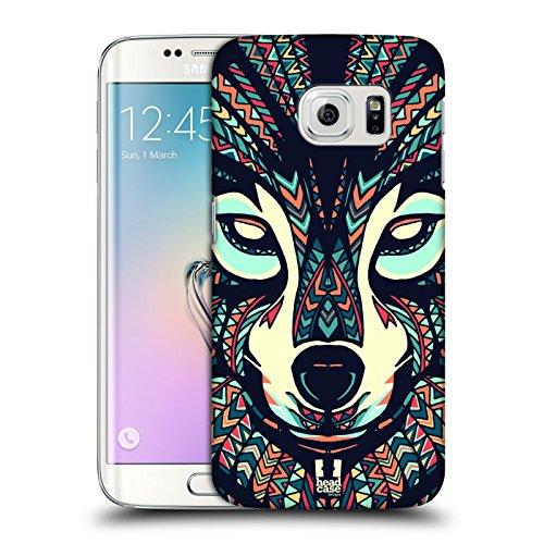 Head Case Designs Lupo Facce Di Animali Aztechi 3 Cover Retro Rigida per Samsung Galaxy S6 edge