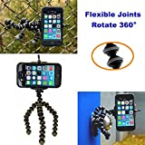 Flexible Tripod for iPhone 6 Plus 5 5s 5c 4s 4, Samsung Galaxy S2 S3 S4 S5 with Adapter, (Compare to Joby Gorillapod Original) Mini Grip Gorilla Tripod Bendable with Mount for Cell Phone, Universal Smartphone Holder Clip Stand Connector Head - Also holds Digital Camera DSLR, SLR, Camcorders like Canon or Sony **Make Better Videos and Selfie Pictures with your Cell Phone** - DaVoice(TM)