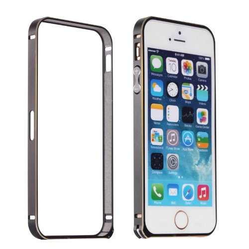 Moon Monkey Lightweight Luxury Slim Metal Frame Bumper Protective Case For Iphone 5S 5 (Mm416) (Black)