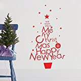Best-Experience Boutique Holiday Series We Wish You a Merry Christmas and Happy New Year The Christmas Tree Shape Removable Wall Murals Stickers Decals Vinyl Home Decor DIY Art Decoration UK Bedroom Living Room Hallway Sitting Room Dinning Room Restauran
