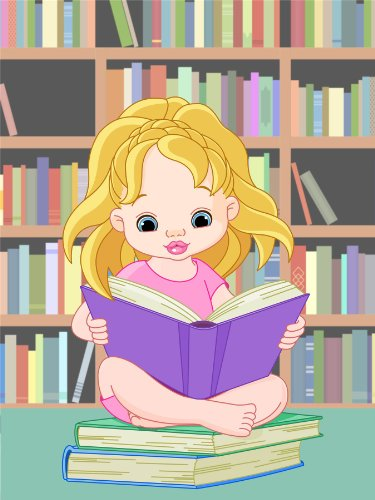 Nursery Girl Reading Library Books Learn Idea Smart Kids Bedroom 12 X 16 Inch Poster Mp4251B