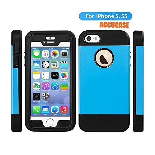 Iphone 5 case,iphone 5s case, ACCUCASE[Super Armor Series]Hybrid Protective Dual Layer Design + Impact Resistant Bumper Premium TPU Hard Case for iphone 5,iphone 5s (Blue )