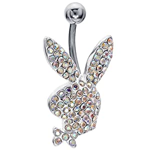 Cubic Zirconia Bunny Surgical Steel Belly Ring