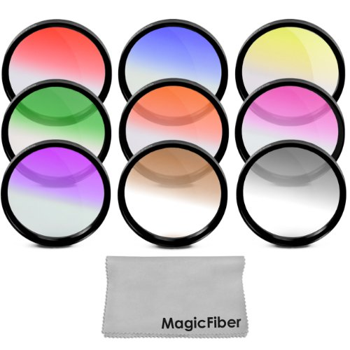 52Mm Complete Graduated Color Lens Filter Set For Nikon D3300 D3200 D3100 D3000 D5300 D5200 D5100 D5000 D7100 D7000 Dslr Cameras With A 18-55Mm Zoom Lens - Includes: Red, Orange, Blue, Yellow, Green, Brown, Purple, Pink And Gray Nd Filters + Magicfiber Mi